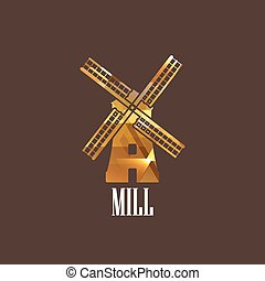 illustration with mill icon
