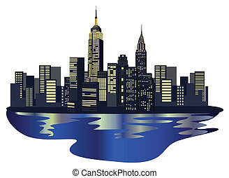 New York Skyscrapers - Illustration with New York...