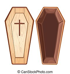Illustration with open wooden coffin