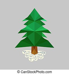 Illustration With Origami Pine Tree
