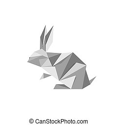 Illustration With Origami Rabbit
