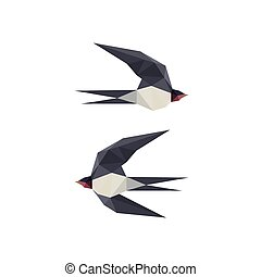 Illustration with origami swallow birds
