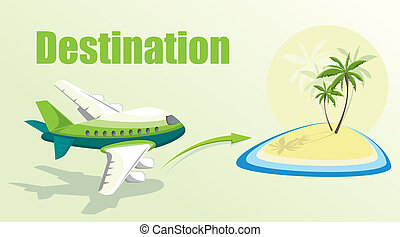 Illustration with plane and island.