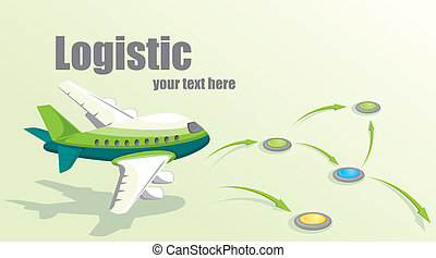 Illustration with plane. Logistic concept.