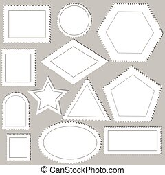 postage stamps - illustration with postage stamps on grey...