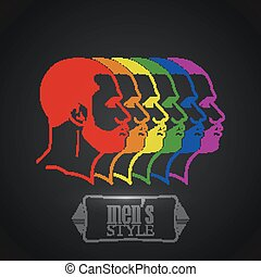 illustration with rainbow male faces