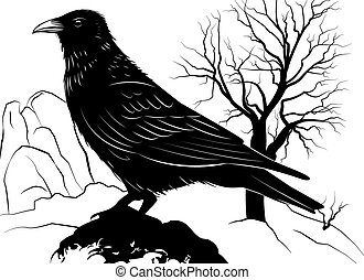 Illustration with Raven on a rock on a background of dead tree