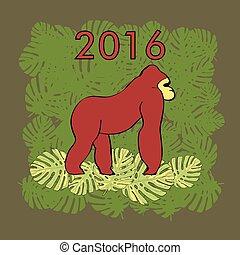 Illustration with red gorilla