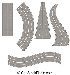 illustration with road icons on white background