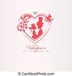 Illustration with silhouette of heart with cupid, boy and girl with crown,