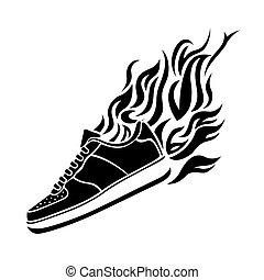 illustration with silhouette of running shoe icon background...