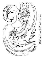 Illustration with stylized birds