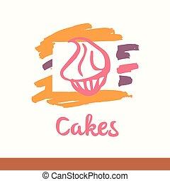 Illustration with stylized cakes, dessert, sweet,...