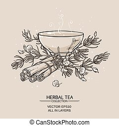 rooibos - illustration with tea bowl with rooibos and ...