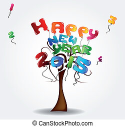 happy new year 2015 - Illustration with tree and balloons -...