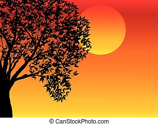 illustration with trees at sunset