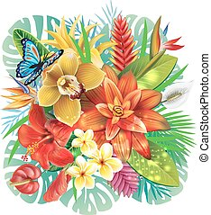 Illustration with tropical flowers