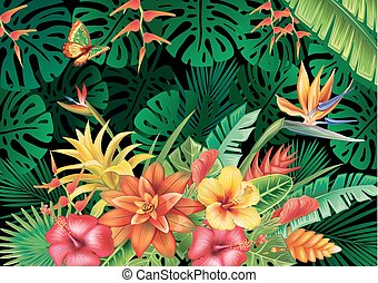 Illustration with tropical plants