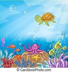 Illustration with underwater world