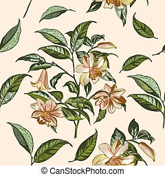 Illustration with vector hand drawn flowers in vintage Victorian style.eps