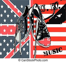 Illustration with vector sneakers with USA and British flags hipster fashion background.eps