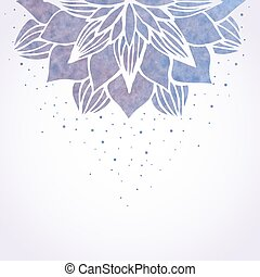 Vector illustration with watercolor violet floral pattern on white background