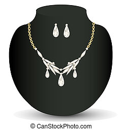 necklace and earrings with precious stones - illustration...