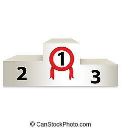 illustration with white prize podium - White podium with...