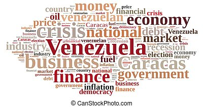 Illustration with word cloud on Venezuela. - A illustration...
