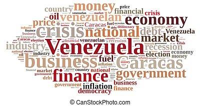 Illustration with word cloud on Venezuela.