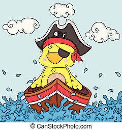 Illustration with yellow bird pirate in boat
