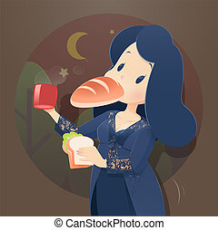 Illustration woman in blue nightwear and lace robe eating at...