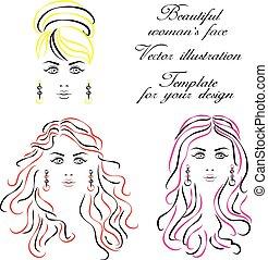 illustration., womans, face., ベクトル, テンプレート, あなたの, design.