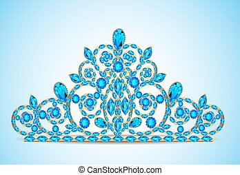 illustration women's gold diadem tiara with precious stones
