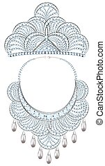 illustration women's necklace and tiara with precious stones and pearls
