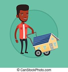 illustration., woning, jonge, vector, aankoop, man