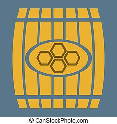 illustration wooden barrel  of honey