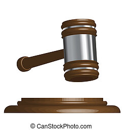 gavel - Illustration, wooden gavel to judges on white ...