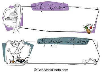 illustration., work., cozinhar, alimento., cozinheiro, estoque