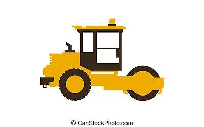 illustration., work., homens, paver., lustroso, machinery., vetorial, construção, style., ícone