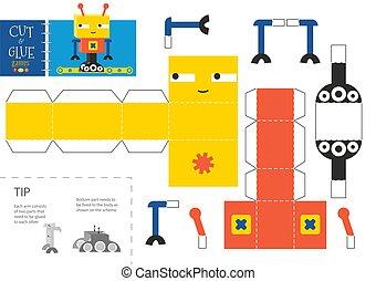 illustration., worksheet, coupure, colle, jouet, simple, vecteur, métier, robot, papier, bricolage, pédagogique