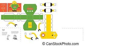 illustration., worksheet, coupure, colle, jouet, simple, vecteur, métier, robot, papier, pédagogique