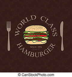 world class burger - illustration world class burger label...