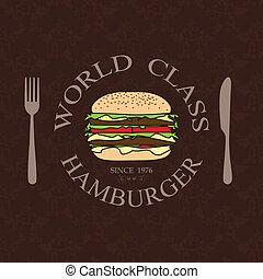 illustration world class burger label stamp banner design element.