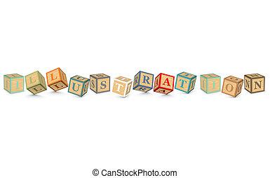 ILLUSTRATION written with blocks