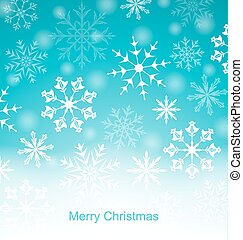 Xmas Blue Background with Snowflakes