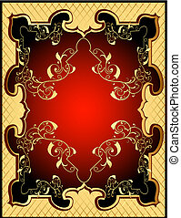 yellow backgrounds red frame with gold(en) pattern and net