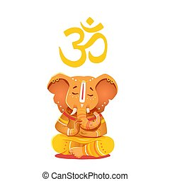 Illustration yellow Ganesh with Om symbol. Deity of the...