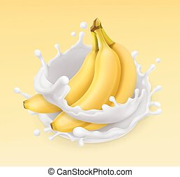 illustration., yogurt., frutta, banana, realistico, vettore,...