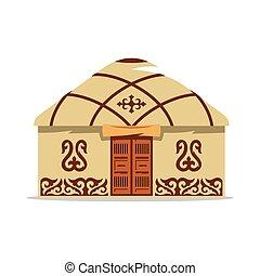 illustration., yurt, casa, vector, asiático, nomads., ...